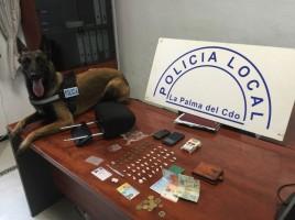 "alt=""perro policia detiene traficante droga La Palma"""