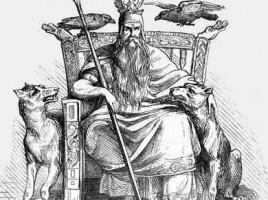 """alt=""""Odin con sus perros y cuervos"""""""